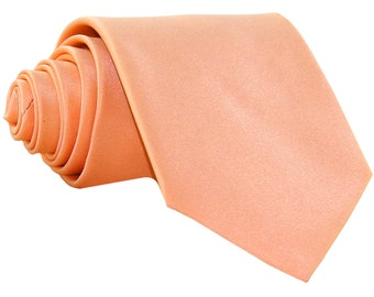 Men's Solid Peach Big & Tall Extra Long Necktie, for Formal Occasions