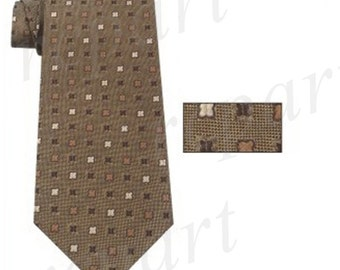 New Men's poly woven regular Necktie & hankie set brown, for Formal Occasions (10628)