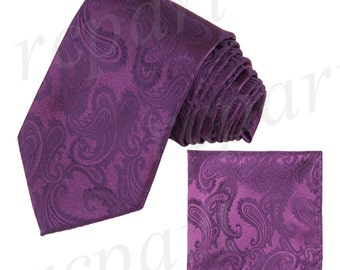 Men's micro fiber Paisley plum Necktie and Handkerchief, for Formal Occasions (FF)