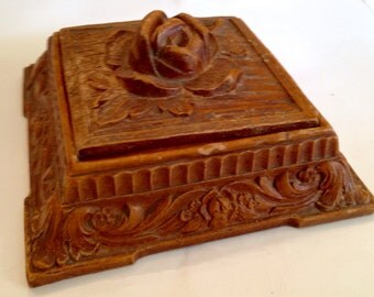 Vintage Syroco Rose Wooden Trinket Box
