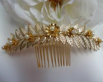 Gold leaf bridal hair comb, Gold Bridal Headpiece, Wedding, Bridal Accessories