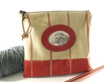 Knitting Tool Bag, Needle Case, Linen, Made to Order