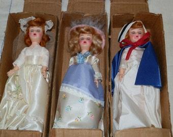 Three Vintage Blue Bonnet Margarine Sleepy Eye Dolls with Original shipping box