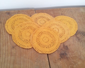 Mustard Coasters Set of 6 Hand Crocheted Orange  Drink Mats