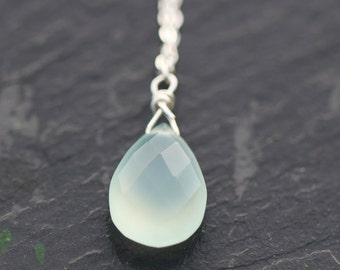 Aqua Blue Chalcedony Faceted Pear Drop Gemstone & Sterling Silver Necklace
