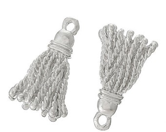 10 Silver TASSLE Tassel Charm Pendants, silver metal, chs1868a