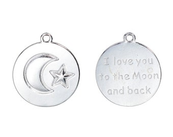 "10 Silver MOON and STAR Charm Pendants, Stamped with ""I love you to the moon and back"", 23x20mm, chs2450"