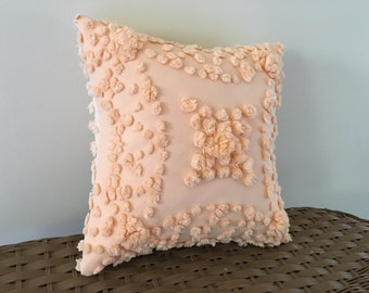 Peach decorative pillow cover, CREAMSICLE 12 x 12, apricot vintage chenille cushion cover, cottage chic pale orange pillow sham