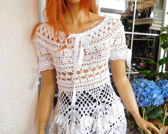 mini dress handmade crochet lace white cotton romantic sexy off shoulders tassels top gift idea for her by golden yarn