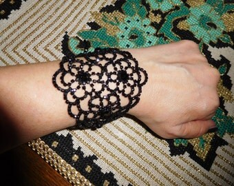 Rhinestone crystal bracelet/black crystal bridal bracelet/crystal bracelet bridal jewelry gift idea for her