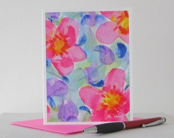 Abstract Watercolor Card // Printed Cards // Modern Floral Art Note Card