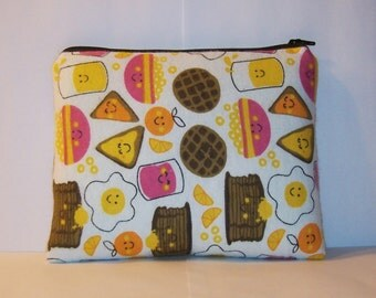 "Breakfast Food, Padded Pipe Pouch, Glass Pipe Bag, XL Pipe Case, Zipper Pouch, Glass Pipe Cozy, Stoner, 420, Munchies Bag, 7.5"" x 6"" X LARGE"