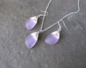 lilac purple earrings sea glass beach glass jewelry  earrings-bridesmaid earrings- teardrop  earrings