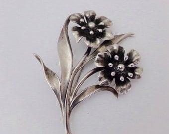 Old Sterling Silver Flower Brooch Detailed Marked Sterling 1940s