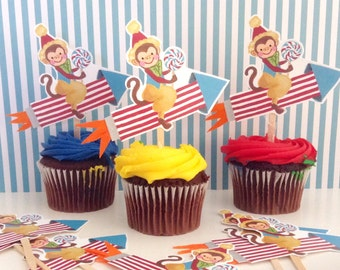 Monkey Riding Rocket Cupcake Toppers/Circus Theme/One Dozen