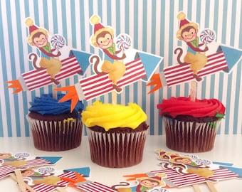 Monkey Riding Rocket Cupcake Toppers/Circus Theme/One Dozen