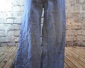 vintage 1970s Brittania hippie patchwork bell bottom wide leg jeans 34 waist