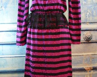 vintage 1980s silk striped dress / 80s purple black silk lace peplum dress