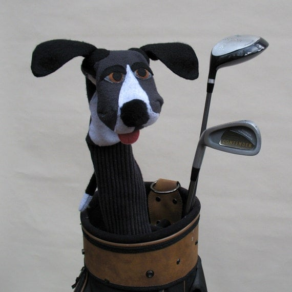 Great Dane Golf Club Cover Handmade Couture Sock Puppet Style Dog Golf Club Accessory