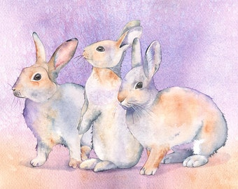 Rabbits print of watercolor painting. R7616, A4 size print, Woodland animal nursery print, art for baby, rabbit watercolor painting