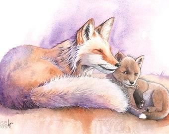 Foxes ORIGINAL Painting,  Original watercolor painting, Original nursery painting, Woodland animal painting, Fox Original painting