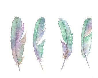 Feathers print F1616, pastel feather watercolor painting print, mint green living room decor, pastel wall art 5 by 7 size smallest print