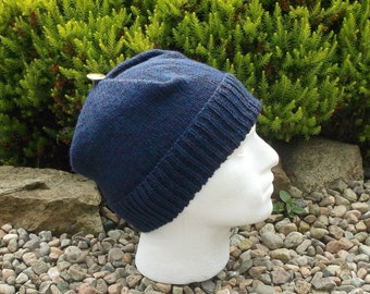 Adult men's / teenage boy's hand knitted square hat. Navy blue