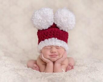 Christmas Hat, Newborn Pom Pom Hat, Holiday Hat, Infant Christmas Hat, Burgundy And White Hat, Big Fluffy Pom Poms, Newborn Christmas Hat