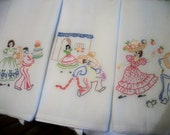Mexican themed hand embroidered dish towels, set of three, vintage pattern
