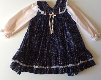 80's Navy & Pink  Calico Flutter Dress (4t)