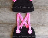 Minnie Mouse Inspired Diaper Cover & Hat Set with Suspenders - Newborn - 3 Months