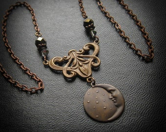 Victorian Witch Man in the Moon Necklace.