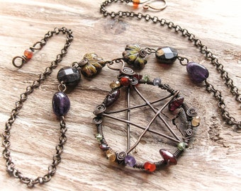 Copper Wire Wrapped Woodland Pentagram Necklace