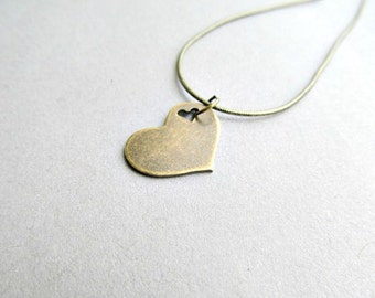 Heart Brass Necklace Heart cutout, Minimalistic jewelry necklace, Valentines Day