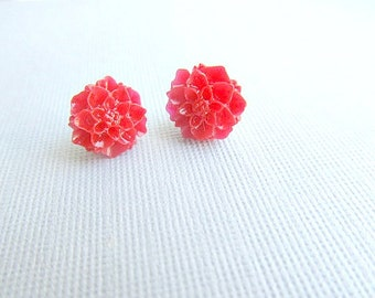 Christmas Red Poinsettia Flower Stud Earrings