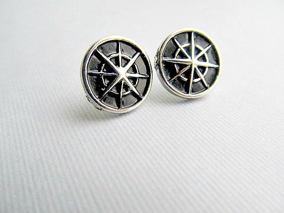 Compass Stud Earrings, North East, South, West Pirate stud earrings, Natical stud earrings