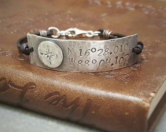 COORDINATES Bracelet by MOONDROPS /// Custom Sterling Silver Hand Stamped ID Bracelet /// Anniversary Gift