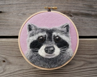 Raccoon Sidekick Peony - Needle Felted Wool Painting Hoop - 5""