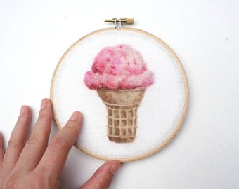 Strawberry Ice Cream Cone - Needle Felted Wool Painting Hoop - 5""