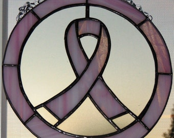 Breast Cancer Awareness Stained Glass Ribbon