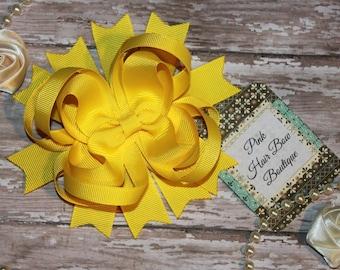 Yellow Hair Bow, Yellow Boutique Hair Bow, Yellow Hairbow, Yellow Hair Clip, Spring Hair Bow, Beautiful Hair Clip, Cute Hair bow