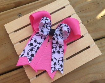 soccer hair bow - tails down team hair bow  - choose your color
