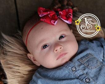 Red Bandana Baby Headband hair bow - Cowgirl Headband Summer Headband - headbands for babies - headbands for girls - toddler headbands