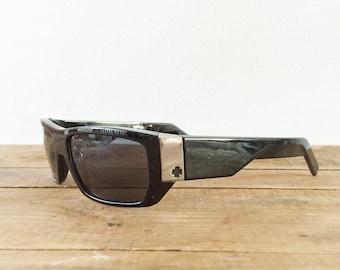 Spy Paycheck Sunglasses 1990s Men's Sunglasses Mobb Gangster Vibe Black Frames Gray Tint Squared Dark Tint Vintage Eyewear Skater Surfer