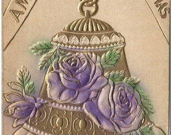Purple Roses on Gold Gilded Bell Heavily Embossed Novelty Vintage Postcard Christmas Greeting