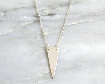 Silver Triangle Necklace - Silver Necklace - Geometric Jewelry - Triangle Necklace - Pendant Necklace