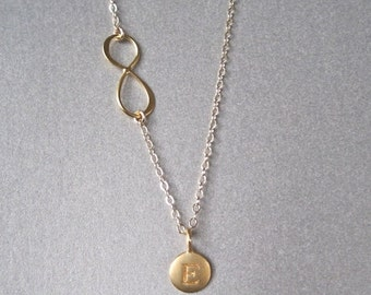 Gold Initial & Infinity Necklace