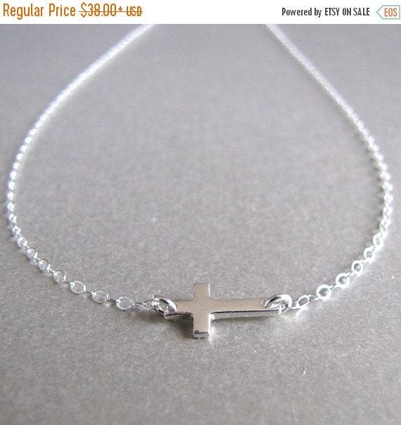Silver Mini Side Ways Cross Necklace