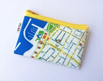 Zipper pouch coin purse with the map of Tel Aviv a souvenir from Israel - a pouch for change with yellow zipper and green summer colors