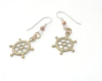 Steampunk Air Ship Captain Earrings Antiqued Brass